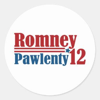 Mitt Romney Tim Pawlenty 2012 Pegatinas Redondas