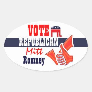 Mitt Romney vote Republican thumbs up Oval Sticker
