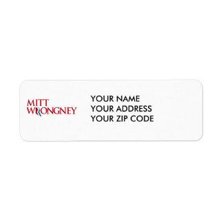 Mitt Wrongney Return Address Label