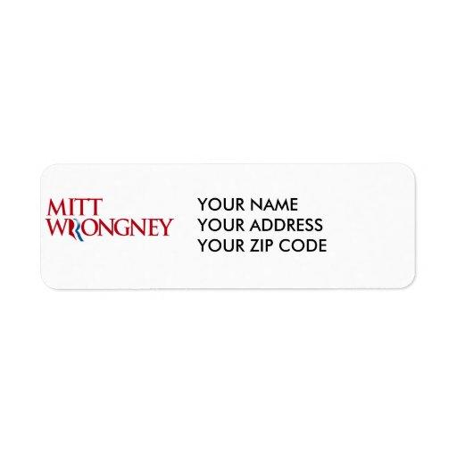 Mitt Wrongney Return Address Labels