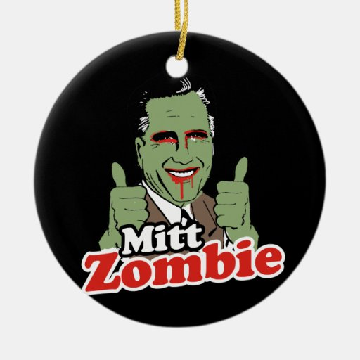 Mitt Zombie Double-Sided Ceramic Round Christmas Ornament