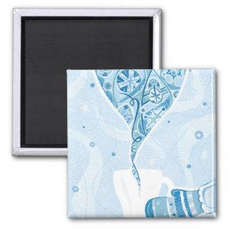 Mitten holding Mug in Winter Blue Snow Pattern Magnets