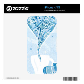 Mitten holding Mug in Winter Blue Snow Pattern Skin For The iPhone 4