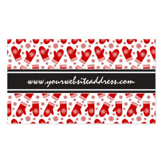Mittens and Snowflakes Retro Christmas Ski Holiday Double-Sided Standard Business Cards (Pack Of 100)