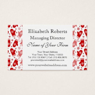 Mittens and Snowflakes Retro Christmas Ski Holiday Business Card