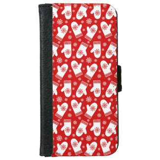Mittens and Snowflakes Retro Christmas Ski Holiday iPhone 6/6s Wallet Case