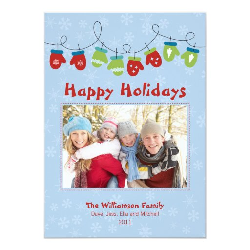 Mittens Holiday Card (blue)