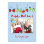Mittens Holiday Card (blue) Personalized Invitation