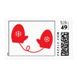 Mittens - Red Postage Stamp