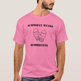 mittens, Schmidty wears his Schmidtens T-Shirt