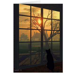 Mittens Wills the Sun to Set Greeting Cards