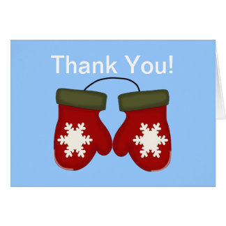 Mittens Winter Baby Shower Thank You - Blue Card
