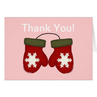 Mittens Winter Baby Shower Thank You - Pink Card