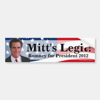 Mitt's Legit! Romney 2012 Bumper Sticker Decal