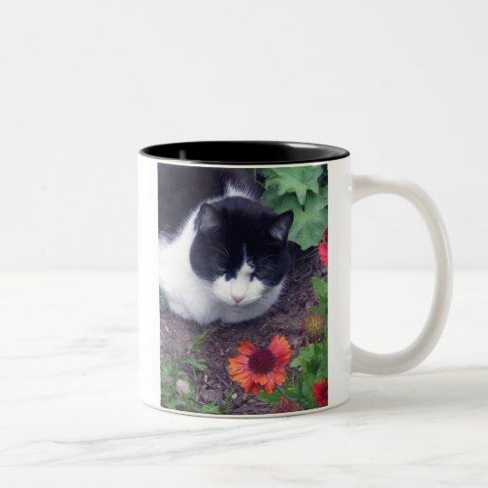 MittzC [cat] Studies a Flower Two-Tone Coffee Mug
