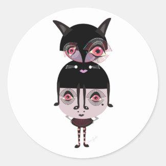 Mitzi and Fitzi Round Stickers