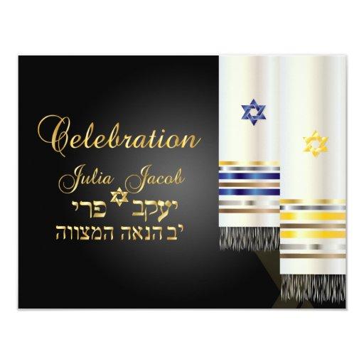 """Mitzvah de la celebración/talit/bnai de PixDezines Invitación 4.25"""" X 5.5"""""""