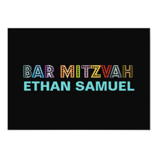 """Mitzvah de neón de la barra de PixDezines Invitación 5"""" X 7"""""""