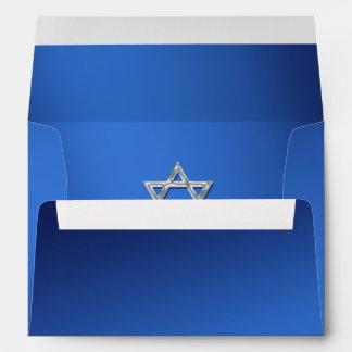 Mitzvah de plata azul del palo del sobre