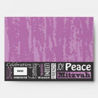 MITZVAH WORDS SAYINGS Bar Bat Invitation Invite Envelope