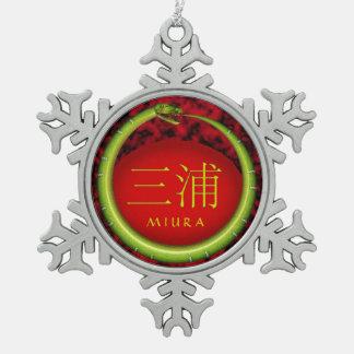 Miura Monogram Snake Snowflake Pewter Christmas Ornament
