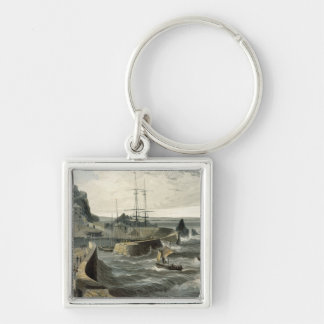 Mivagissey, Cornwall, from Volume VIII of 'A Voyag Silver-Colored Square Keychain