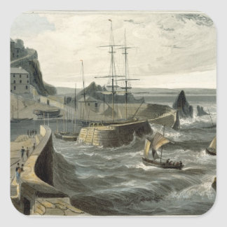 Mivagissey, Cornwall, from Volume VIII of 'A Voyag Square Sticker