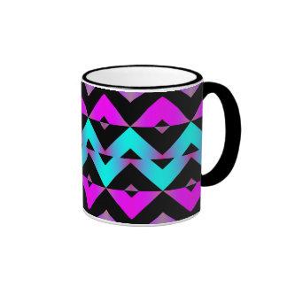 Mix #127 - Neon Pattern - Black, Blue, Purple Ringer Mug