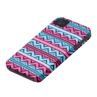 Mix #311 - Pink And Blue Aztec - iPhone 4 Case