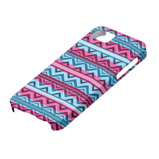 Mix #311 - Pink And Blue Aztec - iPhone 5 Case