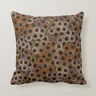 Mix and Match Earth Tone Flowers Throw Pillow