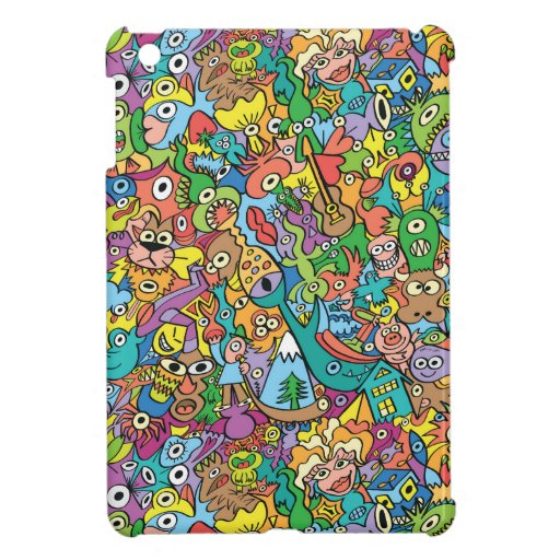 Mix of funny doodles in a playful carnival pattern case for the iPad mini
