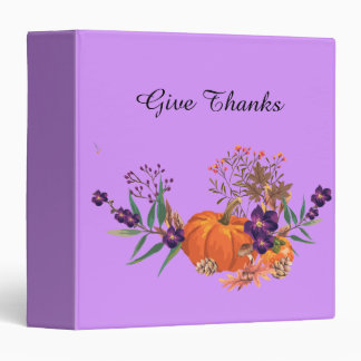 Mix of Pumpkins Fall Leaves and Flowers Binder