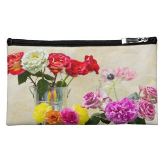 Mix Of Roses, Peony And Tulips In Vases Makeup Bag