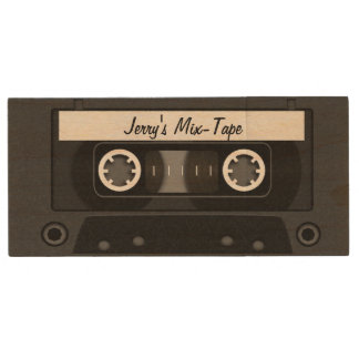 Mix Tape Personalized Black Wood Flash Drive