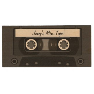 Mix Tape Personalized Black Wood USB 2.0 Flash Drive