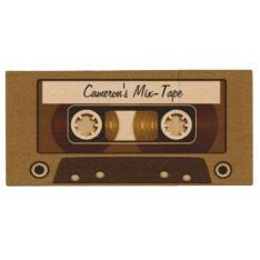 Mix Tape Personalized Gold Wood Flash Drive at Zazzle