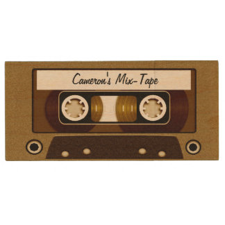 Mix Tape Personalized Gold Wood Flash Drive