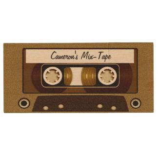Mix Tape Personalized Gold Wood Flash Drive
