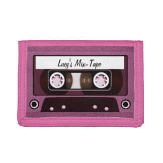 Mix Tape Personalized Pink Tri-fold Wallet
