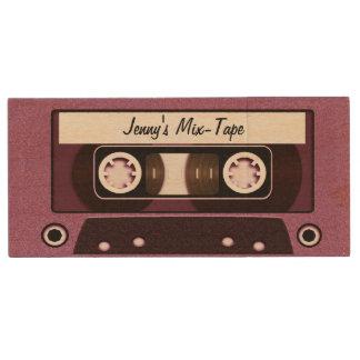 Mix Tape Personalized Pink Wood Flash Drive