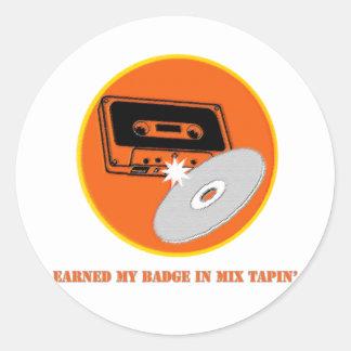 Mix Tapin' Badge Classic Round Sticker