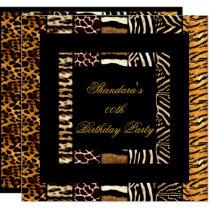 Mixed Animal Prints Gold Black Birthday Party Invitation