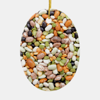 Mixed beans Double-Sided oval ceramic christmas ornament