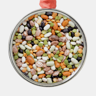 Mixed beans round metal christmas ornament