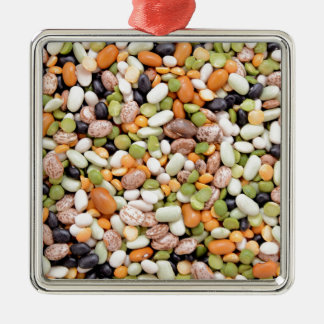 Mixed beans square metal christmas ornament