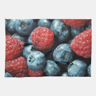Mixed berries (blueberries and raspberries) design towel