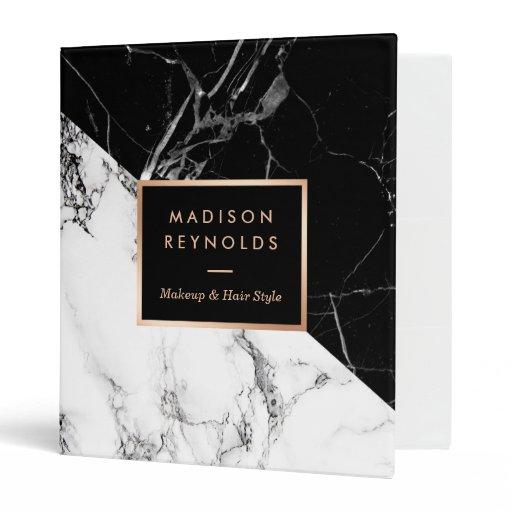 Mixed Black White Marble Texture Unique Design 3 Ring Binder