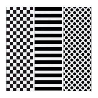Mixed Black & WhitePattern: Squares, Stripes, Dots Triptych