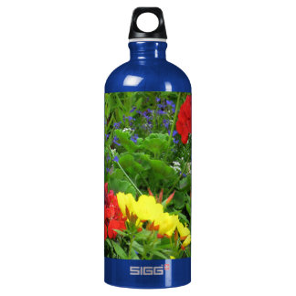 Mixed Blooms Olympia Farmer' s Market Garden Aluminum Water Bottle